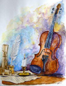 """""""Un violino e..."""" - Acquerello e china di Anna Rita Mesca"""