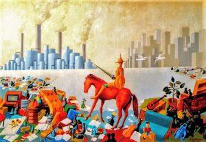 Don Chischiotte combatte contro i nuovi mostri - olio su tela di Arthur Caltabiano